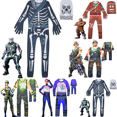 Kid Boy Fortnite Cosplay Costume Fancy Halloween Party Jumpsuit Outfits Dress AU