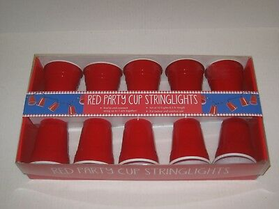 Solo Red Party Cup String Lights Set of 10 Plug In 3 1/2 inches Tall