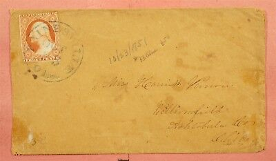 Imperf On 1851 Painesville Oh Ohio Blue Cancel