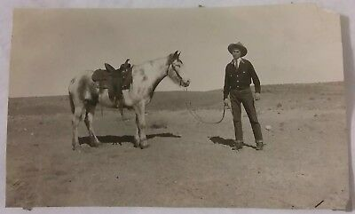 2 Vintage Old 1923 Photos of Man Cowboy Lucien Jinks Burgess Horse Basin Wyoming