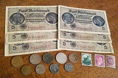 OLD REICH SILVER w/ WW2 RARE BANKNOTES / COINS - 19pc LOT! - WWII Collection!