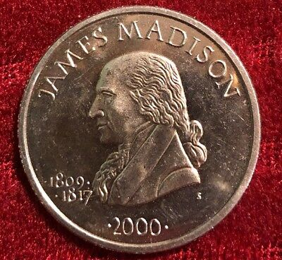 James Madison Republic Of Liberia 2000 Five Dollars Coin
