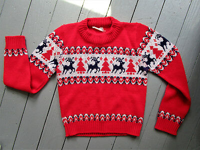 Vintage Sears Boys Sweater, Reindeer, Trees, Pullover, Excellent Vt Shape, Sz 6