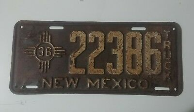 New Mexico 1936 Truck License Plate