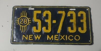 1928 New Mexico License Plate