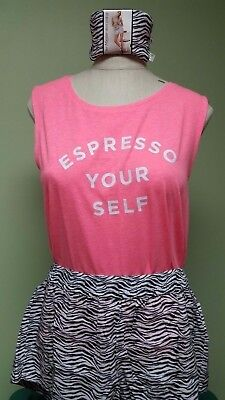 Victorias Secret Mayfair Short Tank PJ Pajama Set S Espresso Your Self Zebra NEW