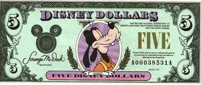 1991 $ Disney Dollars Goofy
