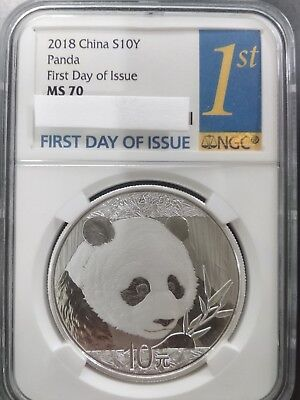 2018 Silver Panda Coin 30 gram First Day Issue NGC MS70 Free Shipping Rare
