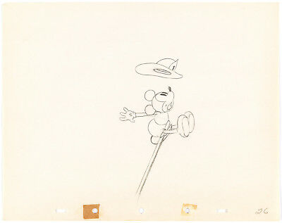 MICKEY MOUSE FIREMAN Mickey's Fire Brigade DISNEY PRODUCTION CEL DRAWING 1935