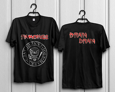 4e5510e96 Best Vintage RAMONES CONCERT 1989 BRAIN DRAIN TOUR PUNK ROCK T-SHIRT Reprint  New