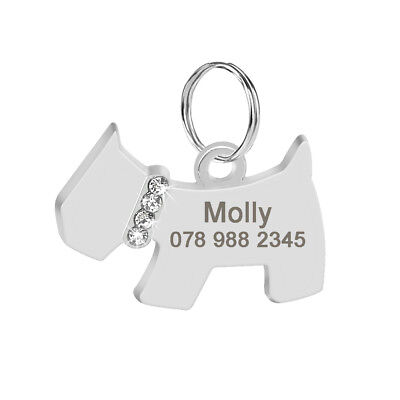 Stainless Steel Cute Dog Shape Pet Tags Personalised Name ID Tag Free Engraving