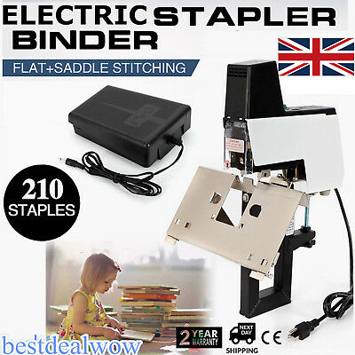Office Auto Electric Stapler Flat+Saddle Binder Machine Book Binding Machine UK