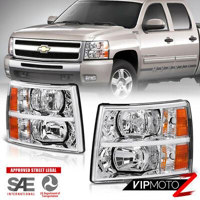 Chevy Silverado 2007-2014 Left+Right Chrome Headlight Amber Signal Parking Lamps