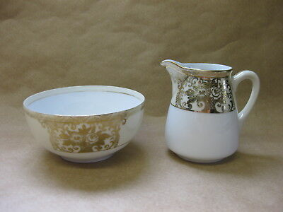 Vintage Noritake / R.C. Basket Of Flowers Jug & Bowl ~ Gold / Cream / White