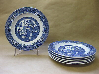 """6 Vintage Woods Ware Willow Plates ~ 6 3/4"""" ~ 17 cm ~ Blue & White Willow"""