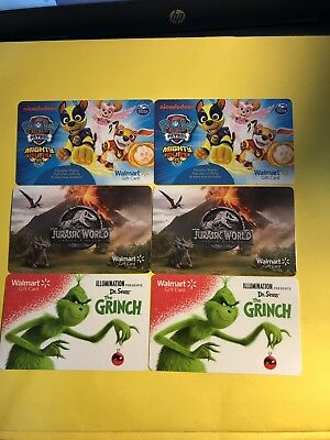 Walmart Gift Cards Paw Patrol, The Grinch And Jurassic World No Value