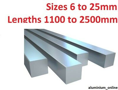 ALUMINIUM SQUARE BAR 6mm 8mm 10mm 11mm 13mm 16mm 19mm 22mm 25mm select size