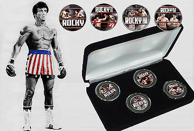 Sylvester Stallone - Rocky The Movies Kennedy Half Dollar Coins Set with COA