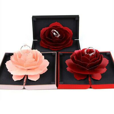 Unique Pop Up Rose Wedding Engagement Rings Box Surprise Jewelry Storage Holder