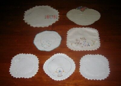 7 VINTAGE HAND EMBROIDERED DOILIES ~ LINEN & COTTON ~ LACE EDGED (b)