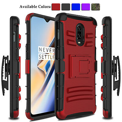 For OnePlus 6T Phone Case Shockproof Hybrid 3D Cover With Kickstand Clip Holster