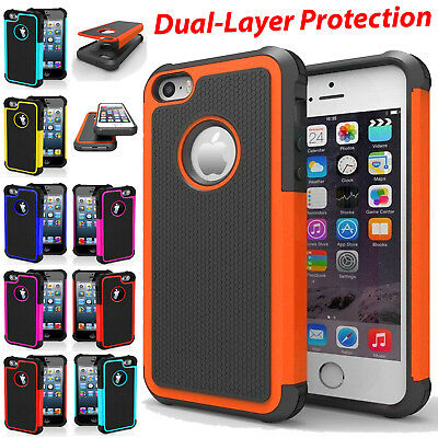 For Apple iPhone 8 7 6S 5S X Protective Dual Layer Case Shockproof Hybrid Cover