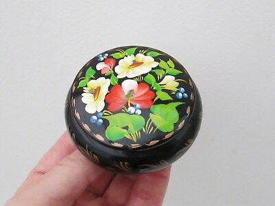 Russian Wooden Box - Hand Painted - Beautiful Flower Design - Signed By Artist