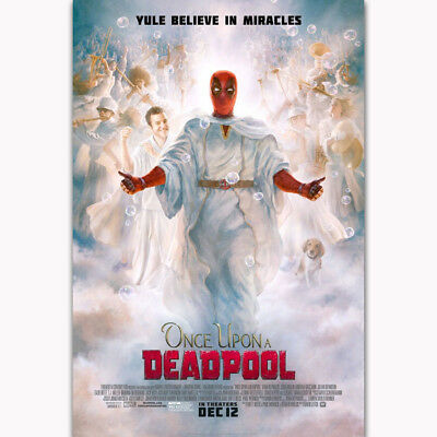 Deadpool Christmas Once Upon A 2018 Movie Film Gift Poster Art Print Decoration