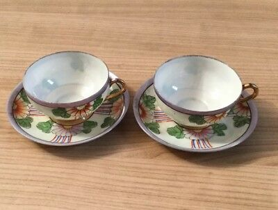 A Beautiful Pair Of Japanese Cups And Saucers Hand Painted Made In Japan
