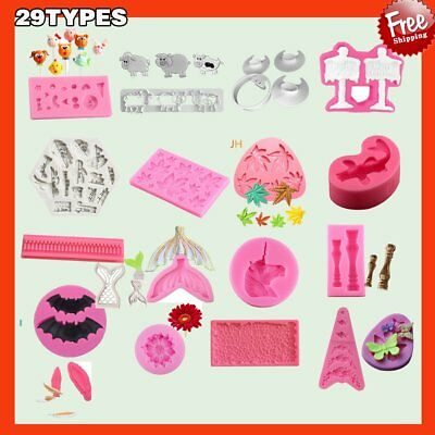 29 Shapes Silicone Cake Decorating Moulds Candy Cookie Chocolate Baking DS