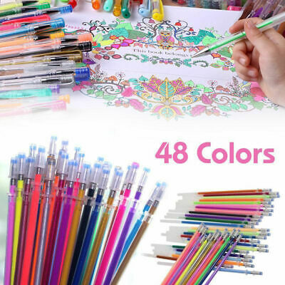 48x Color Gel Pen Set Adult Coloring Book Ink Pens Drawing Painting Craft Art MW