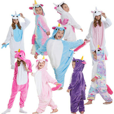 Kids Boy Girl Pajamas Sleepwear Rainbow Unicorn Kigurumi Animal Cosplay Costume