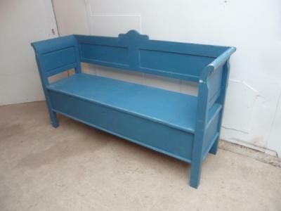 A Lovely Sea Blue Antique Pine Shabby Chic 2/3 Seater Box Settle/Bench