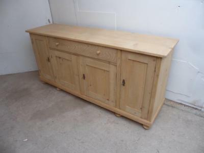 A Classic Antique/Old Pine Large 4 Door Kitchen Dresser Base to Wax/Paint