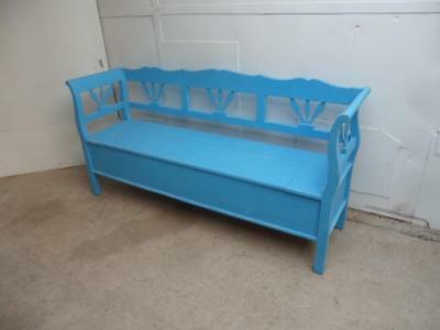 A Lovely Sky Blue Antique Pine Shabby Chic 3 Seater Box Settle/Bench
