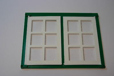 Dolls House Double Georgian Window White/green Plastic 1/16 Use With Fixing Pins