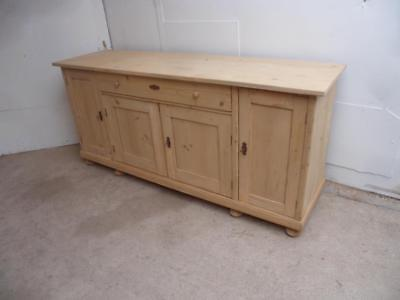 A Mint Clean Antique/Old Pine Large 4 Door Kitchen Dresser Base to Wax/Paint