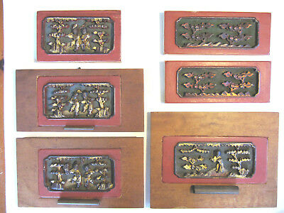 Antique Chinese Carved Gilt and Lacquer Wood Panels from Wedding Bed