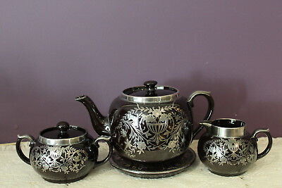 Vintage Gibson Black Teapot & Trivet, Cream And Sugar Set With Silver Overlay