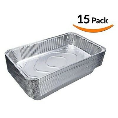 (15-Pack) Full-Size Deep Chafing Pans - Disposable Aluminum Foil Steam