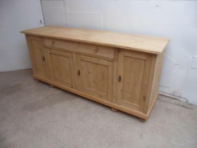 A Quality Antique/Old Pine Large 4 Door Kitchen Dresser Base to Wax/Paint
