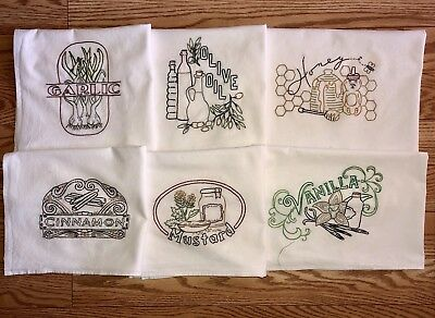 Set Of 6 Vtg Style Spice Of Life Hand  Embroidered Flour Sack Dish Towels
