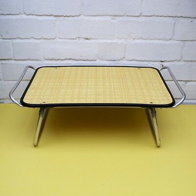 Vintage Tray Table, Folding Lap Table, Metal Camping Table, Yellow Vinyl Table