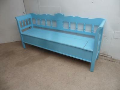 A Lovely Sky Blue 2 Metre Antique Pine Shabby Chic 3/4 Seater Box Settle/Bench