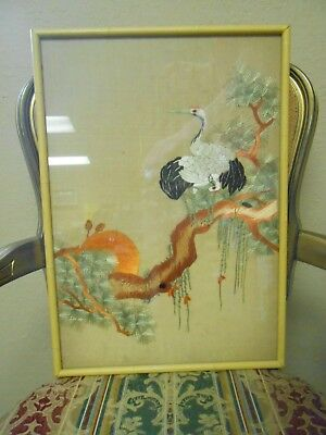 """Antique Framed Chinese Silk Embroidery Textile Cranes  on Branch 14.5"""" by 20.5"""""""