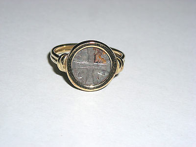 Unique 14K Yellow Ring with Faux Old Coin   Pirate Greek Roman  Unique