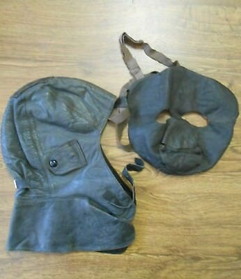 Complete Set WW1 WWl Leather Pilot Flying Mask & Face Mask c1916 Cloth Lined