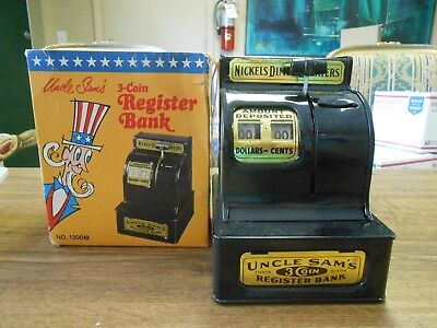 Rare Original Uncle Sams 3 Coin Register Bank in Box Joliet Caterpillar Sticker