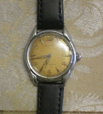 Vintage Very Rare Benrus Stainless Case Mens Working Watch Needs New Crystal