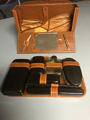 Vintage Men's Travel Kit in cowhide leather pouch with slippers